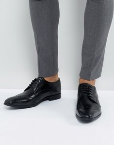 Read more about Base london crown leather brogue derby shoes in black - black