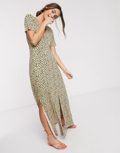 Read more about Asos design button through maxi tea dress with splits in yellow ditsy print
