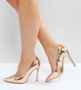 Read more about Faith wide fit chloe rose gold court shoes - rose gold metallic