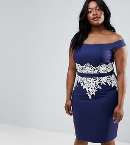 Read more about Paper dolls plus bardot pencil dress with lace trim - navy