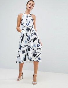 Read more about Asos high neck mono scuba printed prom dress - mono