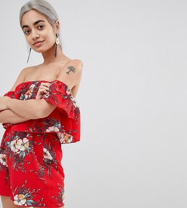 Read more about Parisian petite off shoulder floral playsuit - red