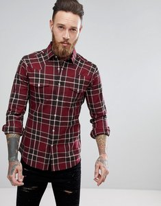Read more about Asos skinny western check shirt - burgundy