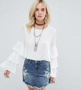 Read more about Glamorous petite top with ruffle layer sleeves - white