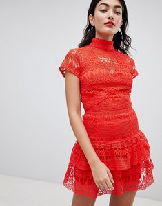 Read more about Prettylittlething high neck lace tiered dress - red