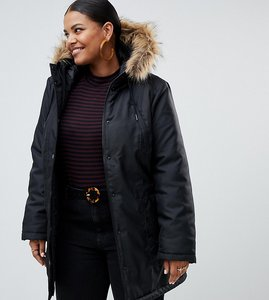 Read more about Junarose fur trim parka coat - black