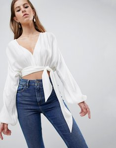 Read more about Asos design satin plunge top with wrap detail - white
