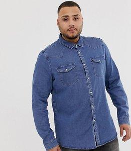 Read more about Asos design plus stretch slim denim western shirt in mid wash