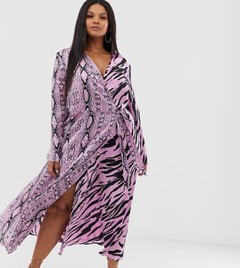 Read more about Asos design curve exclusive wrap maxi dress in mixed animal print