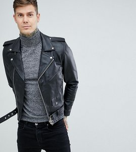 Read more about Reclaimed vintage inspired leather biker jacket in black - black