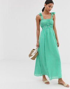 Read more about Asos design seersucker shirred maxi dress in stripe with tie straps