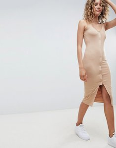 Read more about Asos design popper front scoop neck midi dress - camel