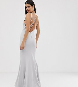 Read more about Jarlo tall halterneck maxi dress with multi strap drop back in silver grey