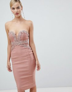 Read more about Rare london strapless crochet midi dress - blush pink