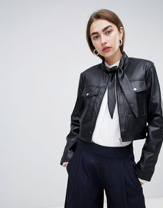 Read more about Asos design tie neck leather look jacket - black