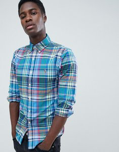 Read more about Polo ralph lauren slim fit tartan check oxford shirt player logo button down in blue multi - cerulea