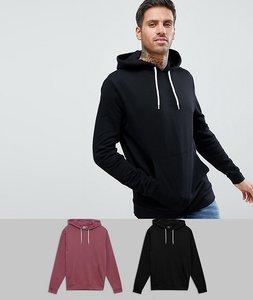 Read more about Asos hoodie 2 pack black burgundy save - black aston
