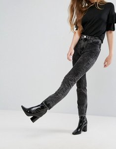 Read more about Monki kimomo acid wash mom jeans - acid black