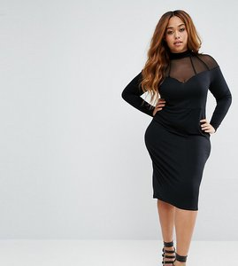 Read more about Asos curve high neck bodycon midi dress with mesh and strapping - black