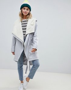 Read more about Asos design waterfall parka with borg liner - grey