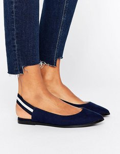 Read more about New look elastic stripe slingback shoe - navy
