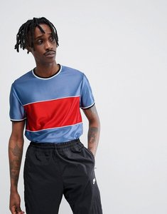 Read more about Asos design t-shirt in drape fabric with contrast panel and piping in blue - blue