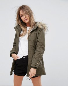 Read more about New look faux fur hooded short parka - dark khaki