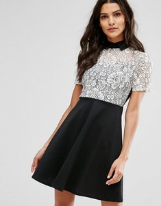 Read more about Club l monochrome skater dress with lace panel - black white