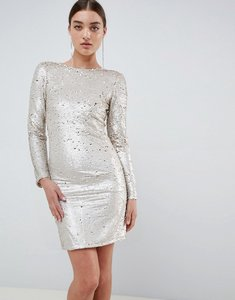 Read more about Club l two tone sequins low back bodycon mini dress - gold
