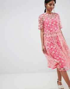 Read more about Asos edition floral embellished drop waist smock midi dress - pink