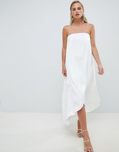 Read more about Asos design satin bandeau maxi dress in white - white