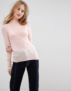 Read more about Asos jumper with turtle neck in sheer knit - pale pink