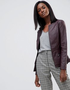Read more about Oasis faux leather collarless jacket - brown