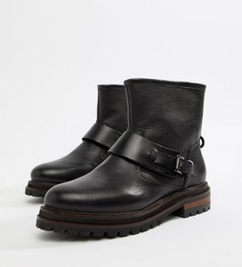 Read more about Hudson london black leather biker ankle boot with buckle - black