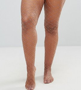 Read more about Asos curve oversized fishnet tights in mauve - purple