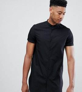 Read more about Asos design tall regular fit shirt in super longline - black