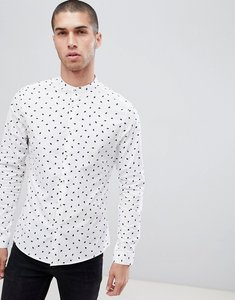 Read more about Asos design skinny smart work shirt with ditsy print and grandad collar - white