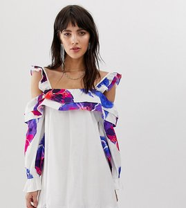 Read more about Dusty daze off shoulder swing dress with floral print