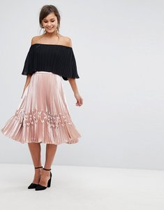 Read more about Ted baker zig zag pleated midi skirt - rose gold
