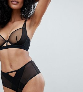 Read more about Wolf whistle black high waisted mesh brief - black