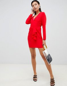 Read more about Asos design origami wrap front mini dress with long sleeves - orange red