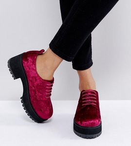 Read more about Asos omega wide fit chunky lace up heels - berry velvet