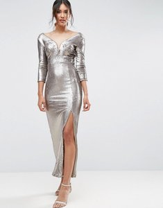 Read more about Little mistress sequin maxi dress with belt - gold