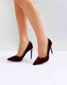 Read more about Ivyrevel heeled velvet pointed court shoe with pu trim - burgundy