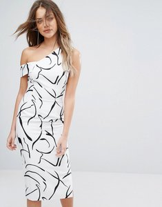Read more about Lavish alice monochrome abstract print asymmetric midi dress - abstract