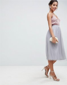 Read more about Asos mesh midi prom skirt - grey
