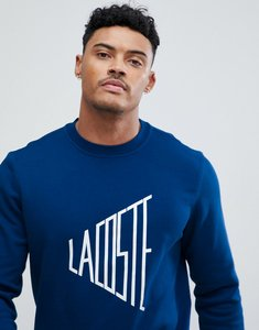 Read more about Lacoste text logo crew neck logo sweat in navy - mkh
