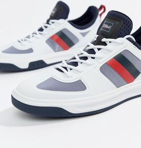 Read more about Polo ralph lauren court 200 stripe trainers - white navy red