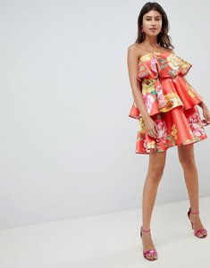 Read more about Asos design structured tiered mini dress in bright floral print - multi