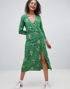 Read more about Nobody s child long sleeved midi dress with button up detail - green floral